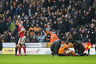 Joe Worrall of Nottingham Forest  receives a Yellow Card during the EFL Sky Bet Championship match between Wolverhampton Wanderers and Nottingham Forest at Molineux, Wolverhampton, England on 20 January 2018. Photo by Darren Musgrove.