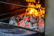 flames and embers in a Charcoal oven