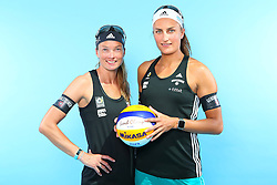 07.06.2016, Hamburg, GER, DVV Beachvolleyball, Fototermin, Nationalmannschaft, Olympische Spiele, Rio 2016, im Bild v.l. Katrin Holtwick und Ilka Semmler (GER) // f.l. Katrin Holtwick and Ilka Semmlerof Germany during photocall of German Beach Volleyball team of German Cycling Federation for the Olympic games, Rio 2016. Hamburg, Germany on 2016/06/07. EXPA Pictures © 2016, PhotoCredit: EXPA/ Eibner-Pressefoto<br /> <br /> *****ATTENTION - OUT of GER*****