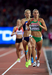 Hungary's Xenia Krizsan in the Women's Heptathlon 800m heat two during day three of the 2017 IAAF World Championships at the London Stadium.