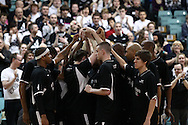 Guildford, England, Sunday 21st March 2010:  Newcastle Eagles psyche themselves up before the  BBL Trophy Final between Cheshire Jets and Newcastle Eagles at the Guildford Spectrum, Surrey, UK. Final score Cheshire 95-111 Newcastle.  (photo by Andrew Tobin/SLIK images)