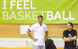 Tomaz Brinec and dr. Branko Cveticanin during practice session of Slovenian National Basketball team during training camp for Eurobasket Lithuania 2011, on July 12, 2011, in Arena Vitranc, Kranjska Gora, Slovenia. (Photo by Vid Ponikvar / Sportida)