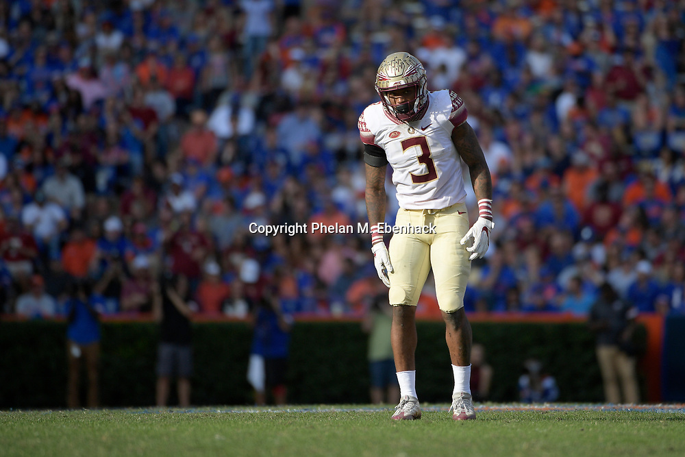 Florida State defensive back Derwin James (3) lines up for a play during the second half of an NCAA college football game against Florida Saturday, Nov. 25, 2017, in Gainesville, Fla. FSU won 38-22. (Photo by Phelan M. Ebenhack)