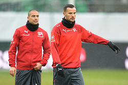 04.03.2014, AFG Arena, St. Gallen, SUI, Training der Schweizer Nationalmannschaft, vor dem Testspiel gegen Kroatien, im Bild Haris Seferovic (SUI), Goekhan Inler (L) // during a practice session of swiss national football team prior to the international frindley against Croatia at the AFG Arena in St. Gallen, Switzerland on 2014/03/04. EXPA Pictures © 2014, PhotoCredit: EXPA/ Freshfocus/ Andy Mueller<br /> <br /> *****ATTENTION - for AUT, SLO, CRO, SRB, BIH, MAZ only*****