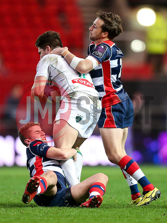 Marvin Lestremeau of Pau is tackled by Billy Searle and Martin Roberts of Bristol Rugby - Rogan Thomson/JMP - 11/12/2016 - RUGBY UNION - Ashton Gate Stadium - Bristol, England - Bristol Rugby v Pau - European Rugby Challenge Cup.