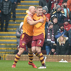 Curtis Main (Motherwell) celebrates with team mate Chris Cadden (Motherwell) after opening the scoring during the Scottish Cup quarter final between Motherwell and Hearts at Fir Park.<br /> <br /> (c) Dave Johnston | sportPix.org.uk
