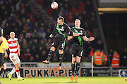 Stoke City midfielder Glenn Whelan wins the header  during the The FA Cup third round match between Doncaster Rovers and Stoke City at the Keepmoat Stadium, Doncaster, England on 9 January 2016. Photo by Simon Davies.