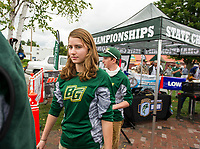 Kate Messer of Bishop Guertin heads back to the boat after her team weigh in on Thursday during the NHIAA State Qualifier Bass Fishing on Lake Winnipesaukee.  (Karen Bobotas/for the Laconia Daily Sun)