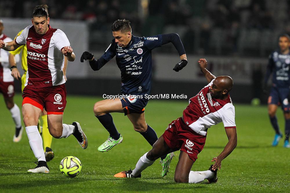 Guido MILAN / Jonas MARTIN / Jonathan RIVIEREZ - 17.01.2015 - Metz / Montpellier - 21eme journee de Ligue 1<br />Photo : Fred Marvaux / Icon Sport