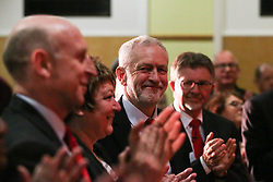 © Licensed to London News Pictures. 04/04/2017. Newark, UK. Labour leader Jeremy Corbyn is applauded at a meeting in Newark to outline the party's aims in the upcoming local elections. Photo credit : Ian Hinchliffe/LNP