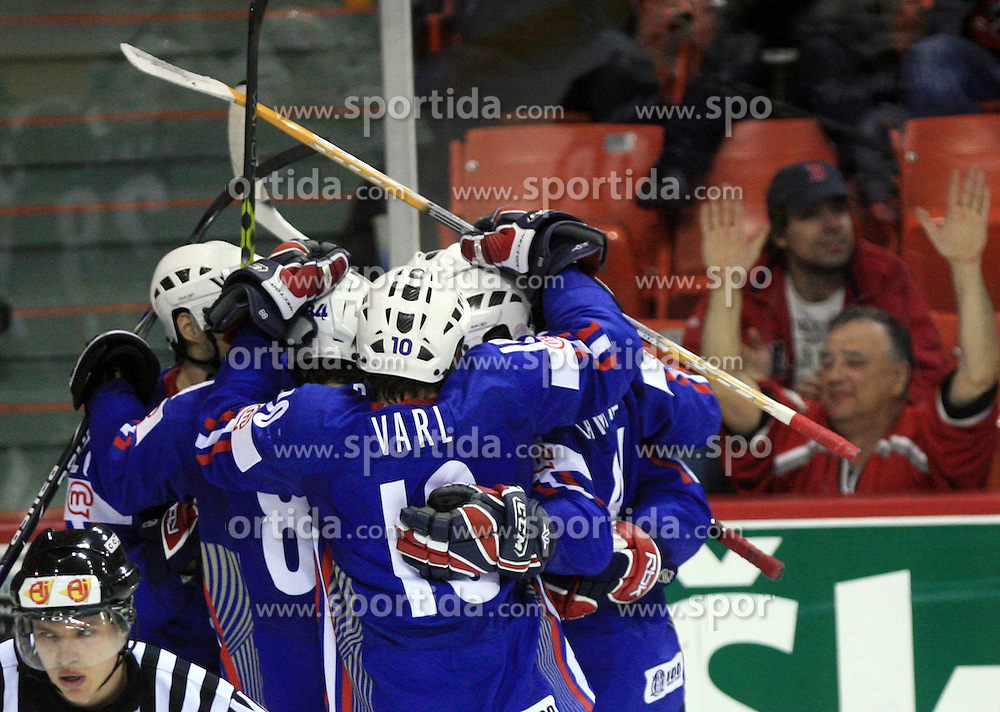 Team Slovenia celebrate first goal at ice-hockey game Slovenia vs Slovakia at second game in  Relegation  Round (group G) of IIHF WC 2008 in Halifax, on May 10, 2008 in Metro Center, Halifax, Nova Scotia, Canada. Slovakia won after penalty shots 4:3.  (Photo by Vid Ponikvar / Sportal Images)