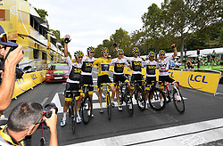July 29, 2018 - Paris Champs-Elysees, France - PARIS CHAMPS-ELYSEES, FRANCE - JULY 29 : THOMAS Geraint (GBR) of Team SKY, FROOME Chris (GBR) of Team SKY, BERNAL GOMEZ Egan Arley (COL) of Team SKY, CASTROVIEJO Jonathan (ESP) of Team SKY, KWIATKOWSKI Michal (POL) of Team SKY, POELS Wout (NED) of Team SKY, ROWE Luke (GBR) of Team SKY,  during stage 21 of the 105th edition of the 2018 Tour de France cycling race, a stage of 116 kms between Houilles and Paris Champs-Elysees on July 29, 2018 in Paris Champs-Elysees, France, 29/07/18 (Credit Image: © Panoramic via ZUMA Press)