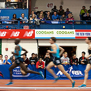 February 15, 2014 - New York, NY : <br /> Athletes including Bernard Lagat, second from left, compete in the Paavo Nurmi Men's 2,000M Run (Elite) during the 2014 NYRR Millrose Games at the The New Balance Track & Field Center at The Armory in Washington Heights, Manhattan, on Saturday afternoon.<br /> CREDIT: Karsten Moran for The New York Times