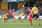 York City midfielder Michael Coulson with a shot during the Sky Bet League 2 match between Cambridge United and York City at the R Costings Abbey Stadium, Cambridge, England on 20 February 2016. Photo by Simon Davies.