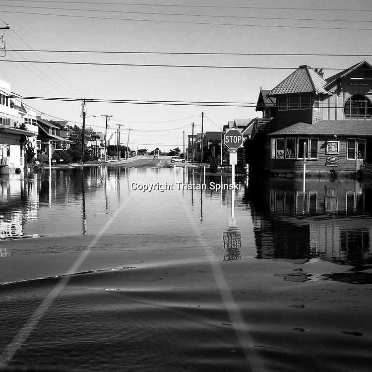 After heavy rains, an intersection in Bethany Beach, Delaware is flooded several blocks away from the Atlantic Ocean.