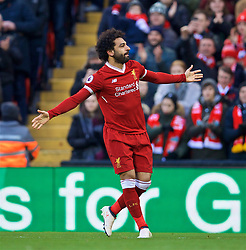 LIVERPOOL, ENGLAND - Saturday, February 24, 2018: Liverpool's Mohamed Salah celebrates scoring the second goal during the FA Premier League match between Liverpool FC and West Ham United FC at Anfield. (Pic by David Rawcliffe/Propaganda)