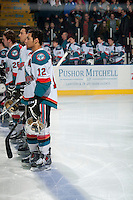 KELOWNA, CANADA - MARCH 5: The Kelowna Rockets line up against the Spokane Chiefs on March 5, 2014 at Prospera Place in Kelowna, British Columbia, Canada.   (Photo by Marissa Baecker/Getty Images)  *** Local Caption ***