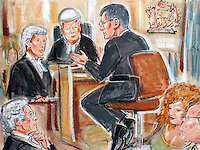 ©PRISCILLA COLEMAN ITV NEWS.PIC SHOWS: STEPHEN BYERS GIVING EVIDENCE AT THE HIGH COURT TODAY, WHERE HE IS DEFENDING HIMSELF AGAINST ALLEGATIONS THAT HE ENGINEERED THE COLLAPSE OF RAILTRACK. ABOUT 50,000 SHAREHOLDERS ARE CLAIMING £157m DAMAGES AFTER THE GOVERNMENT SHUT THE COMPANY DOWN.