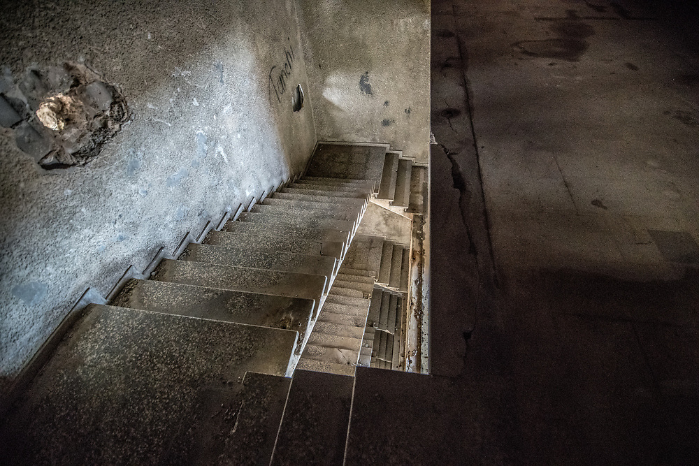 Interior staircases of the abandoned Ducor Hotel, once the most prominent hotels in Monrovia, Liberia