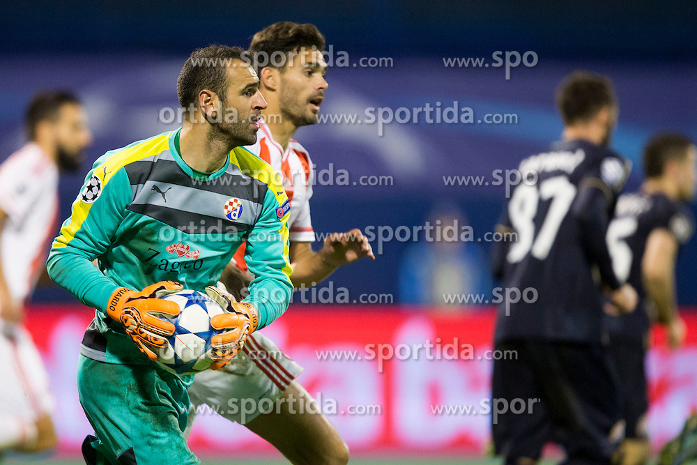 Antonijo Jezina #1 of GNK Dinamo Zagreb during football match between GNK Dinamo Zagreb and Olympiakos in Group F of Group Stage of UEFA Champions League 2015/16, on October 20, 2015 in Stadium Maksimir, Zagreb, Croatia. Photo by Urban Urbanc / Sportida