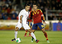 Spain's Thiago Alcantara (r) and Norway's Singh during international sub21 match.March 21,2013. (ALTERPHOTOS/Acero)