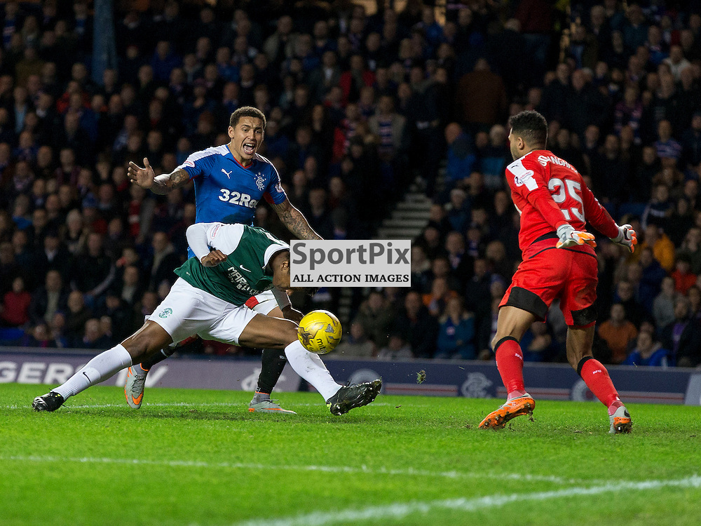 Rangers v Hibernian   SPFL season 2015-2016  <br /> <br /> Dom Malonga (Hibernian) scores Hibs second goal during the Ladbrokes Championship match between Rangers v Hibernian at Ibrox Stadium on 28 December 2015<br /> <br /> Picture: Alan Rennie
