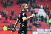 Luke Ayling (2) of Leeds United gives the thumbs up to the Leeds fans at full time after the 3-0 win during the EFL Sky Bet Championship match between Bristol City and Leeds United at Ashton Gate, Bristol, England on 21 October 2017. Photo by Graham Hunt.