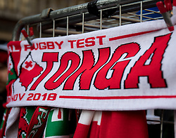 A scarf with Tonga Rugby <br /> <br /> Photographer Simon King/Replay Images<br /> <br /> Under Armour Series - Wales v Tonga - Saturday 17th November 2018 - Principality Stadium - Cardiff<br /> <br /> World Copyright © Replay Images . All rights reserved. info@replayimages.co.uk - http://replayimages.co.uk