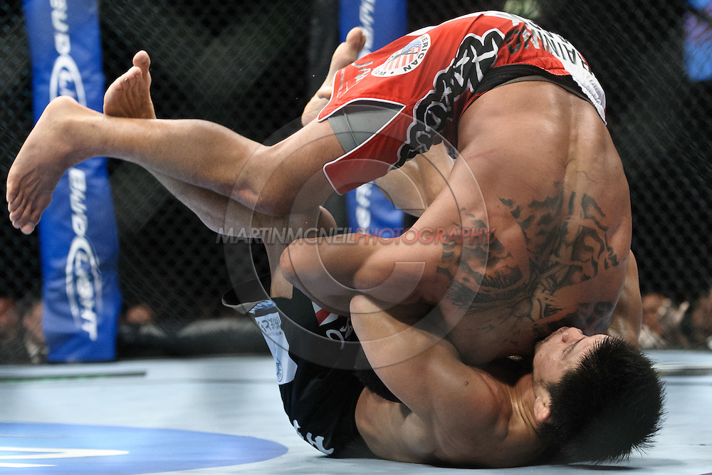 "BIRMINGHAM, ENGLAND, NOVEMBER 5, 2012: Jason Young (top) attempts to roll out of a guillotine choke hold by Michihiro Omigawa during ""UFC 138: Munoz vs. Leben"" inside the National Indoor Arena in Birmingham, United Kingdom"