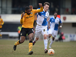 Ollie Clarke of Bristol Rovers Battles for the ball with Janoi Donacien of Newport County - Mandatory byline: Alex James/JMP - 19/03/2016 - FOOTBALL - Rodney Parade - Newport, England - Newport County v Bristol Rovers - Sky Bet League Two