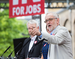 Kings Cross, London, June 22nd 2016. A final rally by members of the Labour Party's Vote Remain team is held in King's Cross, bringing London mayor Sadiq Khan, Welsh first minister Carwyn Jones, Labour In For Britain head Alan Johnson and Scottish leader Kezia Dugdale and Party Leader Jeremy Corbyn in a show of unity as they express the importance of a Remain vote. PICTURED: Labour Leader Jeremy Corbyn addresses the audience.