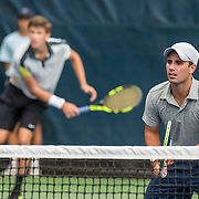 August 21, 2016, New Haven, Connecticut: <br /> Benjamin Collier and Joel Rubio-Moreno in action during a US Open National Playoffs match at the 2016 Connecticut Open at the Yale University Tennis Center on Sunday, August  21, 2016 in New Haven, Connecticut. <br /> (Photo by Billie Weiss/Connecticut Open)