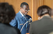 JROTC cadet Robert Crane gives the invocation during a groundbreaking ceremony at Westbury High School, February 16, 2017.
