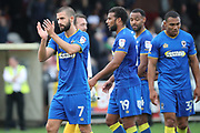 AFC Wimbledon defender George Francomb (7) clapping during the EFL Sky Bet League 1 match between AFC Wimbledon and Rochdale at the Cherry Red Records Stadium, Kingston, England on 30 September 2017. Photo by Matthew Redman.