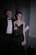 Charlotte Wheeler and her father Stuart Wheeler, The Black and White Winter Ball. Old Billingsgate. London. 8 February 2006. -DO NOT ARCHIVE-© Copyright Photograph by Dafydd Jones 66 Stockwell Park Rd. London SW9 0DA Tel 020 7733 0108 www.dafjones.com