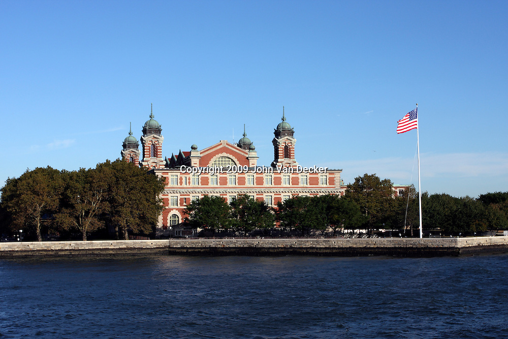 Ellis Island, view from ferry, front left