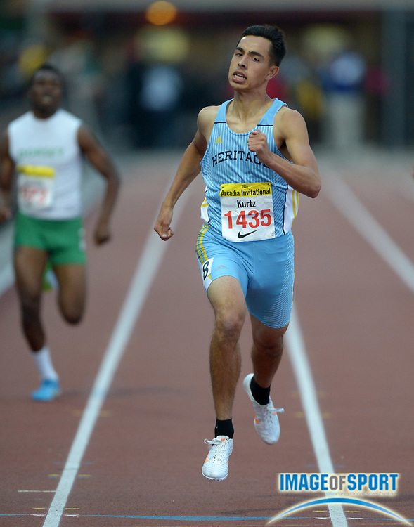 Apr 12, 2014; Arcadia, CA, USA; Frank Kurtz of Heritage wins the 400m in 47.35 in the 47th Arcadia Invitational at Arcadia High.