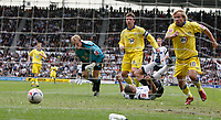 Photo: Steve Bond.<br />Derby County v Leeds United. Coca Cola Championship. 06/05/2007.Tyrone Mears squeezes the ball under Caspar Ankergren for Derby's 2nd goal