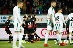 (L-R) Mike van Duinen of Excelsior, Stanley Elbers of Excelsior, Dogucan Haspolat of Excelsior, Milan Massop of Excelsior, Jeffry Fortes of Excelsior during the Dutch Eredivisie match between sbv Excelsior Rotterdam and FC Groningen at Van Donge & De Roo stadium on December 17, 2017 in Rotterdam, The Netherlands