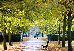 © Licensed to London News Pictures. 20/10/2016. York, UK.  Visitors look at the autumn colours on display in Rowntree Park, York.  Photo credit: Anna Gowthorpe/LNP