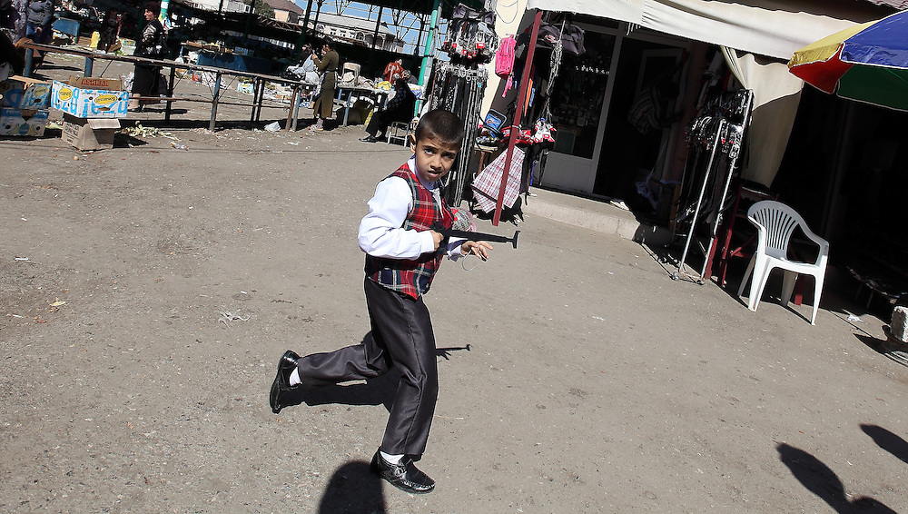 "Boy with Coat-hanger ""rifle"" - Stepanakert"