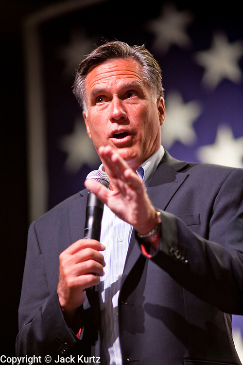 June 4 - MESA, AZ: Former Massachusetts Gov. MITT ROMNEY speaks on behalf of US Sen John McCain (R-AZ) at a town hall meeting at Mesa High School in Mesa, AZ, Friday. US Senator John McCain and former Massachusetts Governor Mitt Romney appeared together in a McCain town hall meeting in Mesa, AZ, Friday to promote McCain's reelection campaign. The long serving Republican US Senator is in a tight primary battle with former Congressman JD Hayworth who is running on a conservative plank against McCain.   Photo By Jack Kurtz
