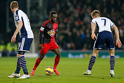 Nathan Dyer of Swansea City is challenged by Chris Brunt and James Morrison of West Brom - Photo mandatory by-line: Rogan Thomson/JMP - 07966 386802 - 11/02/2015 - SPORT - FOOTBALL - West Bromwich, England - The Hawthorns - West Bromwich Albion v Swansea City - Barclays Premier League.