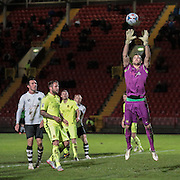 Max Crocombe (Southport) catches the ball during the Vanarama National League match between Gateshead and Southport at Gateshead International Stadium, Gateshead, United Kingdom on 8 December 2015. Photo by Mark P Doherty.