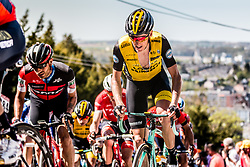 Robert GESINK of Team LottoNL-Jumbo on his Bianchi bike during the 1st of 3 climbs with 58 km to go at Mur de Huy of the 2018 La Flèche Wallonne race, Huy, Belgium, 18 April 2018, Photo by Pim Nijland / PelotonPhotos.com | All photos usage must carry mandatory copyright credit (Peloton Photos | Pim Nijland)