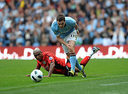 Adam Johnson.Manchester City 2010/11.El Hadji Diouf Blackburn Rovers.Manchester City V Blackburn Rovers (1-1) 11/09/10.The Premier League.
