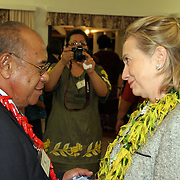 Tufele F. Lia farewells US Secretary of State Hillary Rodham Clinton at the Governor's VIP lounge at the Tafuna Intl. Airport, Tutuila, Amerika Samoa.  Photo by Barry Markowitz, 11/8/10, 1am