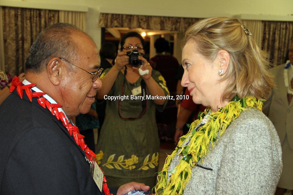 Tufele F. Lia farewells US Secretary of State Hillary Rodham Clinton at the Governor's VIP lounge at the Tafuna Intl. Airport, Tutuila, Amerika Samoa.  Photo by Barry Markowitz, 11/8/10, 1am