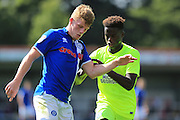 Andy Cannon, Leanardo da Silva Lopez during the EFL Sky Bet League 1 match between Rochdale and Peterborough United at Spotland, Rochdale, England on 6 August 2016. Photo by Daniel Youngs.