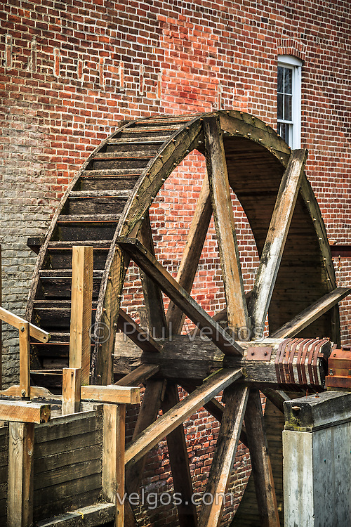 Photo of grist mill water wheel in Hobart Indiana. The Wood's Grist Mill is in Deep River County Park and was built by John Wood in the early 1800's.